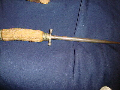 Vintage  Solingen Knife Sharpening Steel Stag Handle