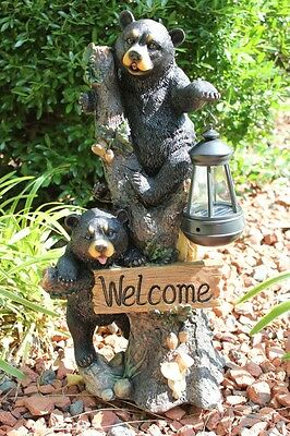 Black Bear Statue Sculpture Figurine Welcome Sign Solar Garden Lantern Light New