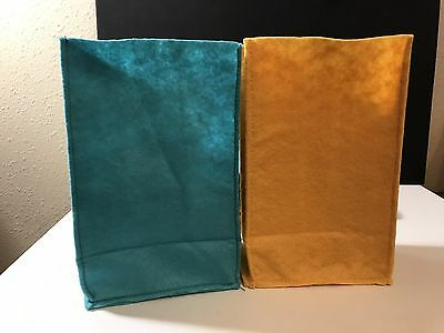 Felt Gift Treat Party Bags Lot Of 6 Blue Yellow Craft Bags Brand New $4