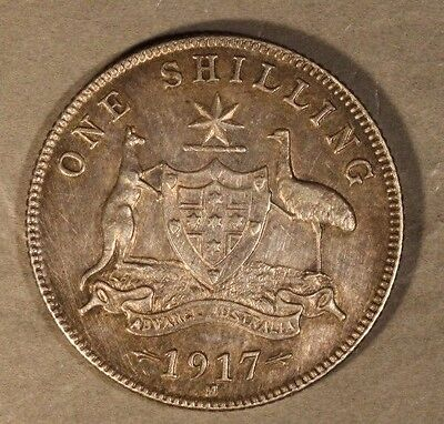 1917M Australia Shilling Toning over Old Hairlines      ** FREE U.S. SHIPPING **