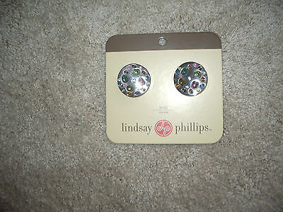 New - Lindsay Phillips Snaps One Pair Leigh  Silver & Colored Gems