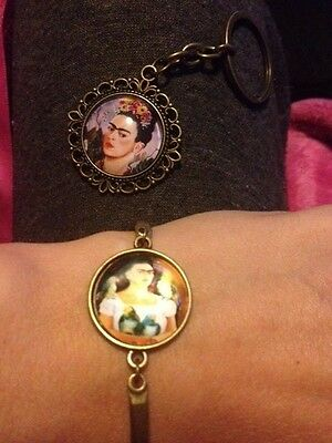 Frida Kahlo keyring and bracelet set