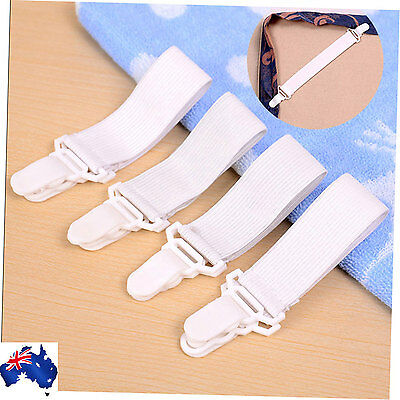 NEW Set of 4 Bed Sheet Grippers / Elastic Clip Holder Strap Mattress Blankets