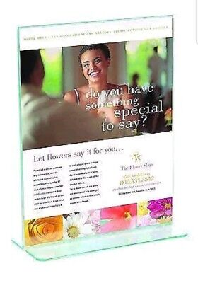 """Staples Acrylic Clear Vertical Stand-Up Sign Holders 12 Pack 8 1/2"""" x 11"""" Holder"""