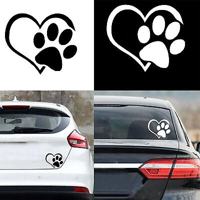 NE Dog Cat Paw Print With Heart Vinyl Decal Bumper Reflecting Sticker Car Window