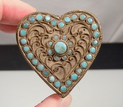 Vintage Nepal Tibetan Brass Turquoise Heart Shaped Box