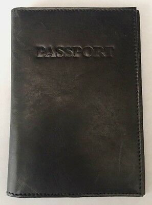 2 Brand New Solid Black Genuine Leather Passport Covers...Free S&H !!