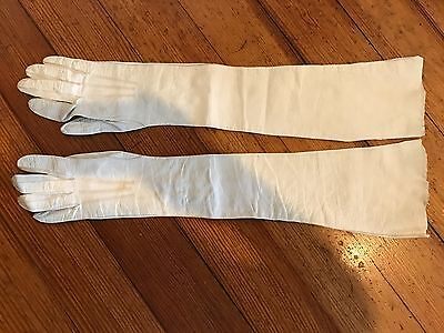 vintage unbranded leather ivory snaps at  wrist above elbow opera gloves Small