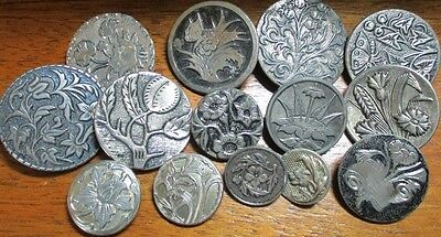 Great!! Lot Of 14 Vintage Antique Metal Picture Buttons~Butterfly-Floral-Nature