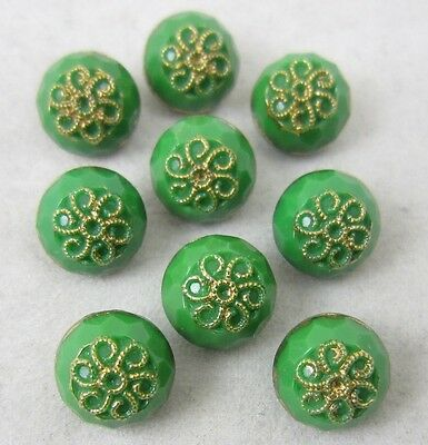 Antique Vintage Glass Ball Buttons Lot~ Small Green Florals w/Luster~ 9 Matching