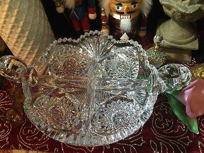 American Brilliant Period ABP Cut Glass 4 Sections Dip Dish w/ 2 Handles - Vtg