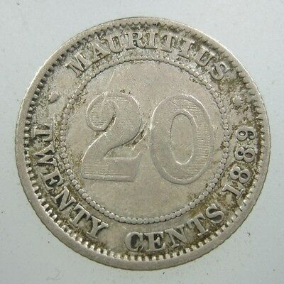 Mauritius 20 Cent 1889 H Silver Scarce #n British Victoria Africa Money Coin
