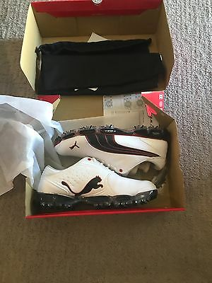 New in Box Puma Golf Super Cell Fusion Ice (White-Black-Fiery Red) Size 7