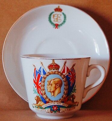 King George VI & Queen Elizabeth, Coronation Teacup & Saucer, May 12th 1937