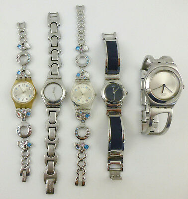 Lot 5 Watches SWATCH For Parts Or Repair