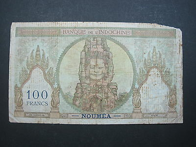 TAHITI 100 FRANC 1939 - 1940 P14d PAPEETE FRENCH INDOCHINA ANGKOR BANKNOTE MONEY