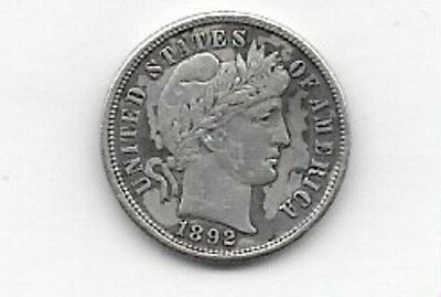 1892-P Silver Barber Dime Grades Vf First Of Set