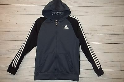 Adidas Boys Hooded Jacket sz XL 18 Dark Gray Black Zip Sweatshirt Hoodie Kohls