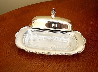 Vintage Rogers Silver Plate Wellington Covered Butter Dish With Crystal Insert