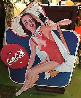 Vintage COCA COLA Girl Bathing Suit Cardboard Cut Out Advertising Sign 1940