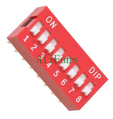 10PCS Slide Type Switch Module 2.54mm 8-Bit 8 Position Way DIP Red Pitch NEW