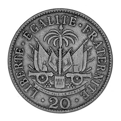 1907 Haiti 20 Centimes Mintage - 5,000,000 Copper Nickel Coin FREE USA SHIPPING