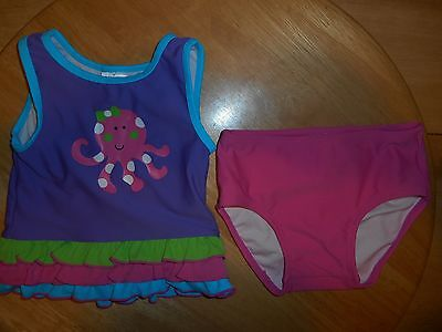 Hanna Andersson 2pc Swimsuit Sz 80 Pink Ruffles Octopus Baby Girls