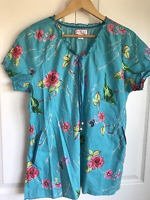 Koi Prints Womens Bridgette V-Neck Floral Bird Print Scrub Top XL