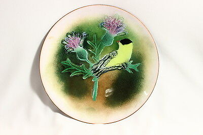 Norman Brumm Mid-Century  Copper Enamel Plate Goldfinch & Thistle  7""