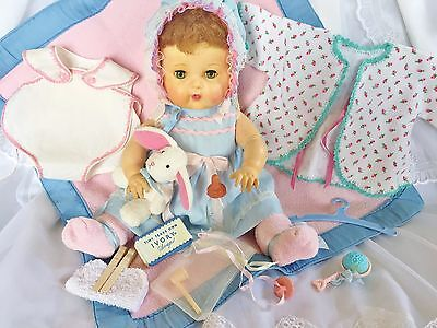 "Vintage 1956 American Character Tiny Tears 16"" Baby Doll Rubber 20 pc Paci Pipe"
