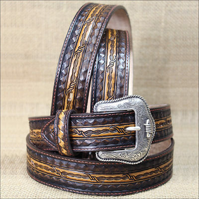 Silver Creek Brown Barb Wire Willie Cowboy Western Embossed Leather Mens Belt