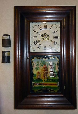 Nice ANTIQUE Early1800's FORESTVILLE OGEE MANTEL CLOCK  WEIGHT DRIVEN  Chinese