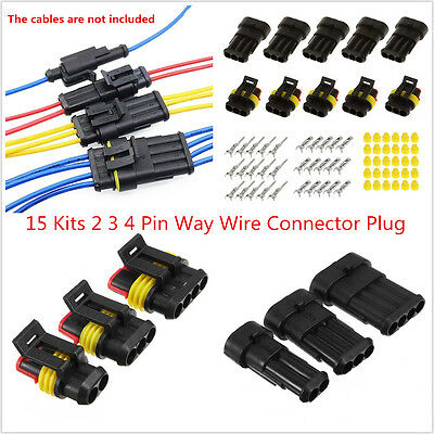Car Truck 15 Kits 2 3 4 Pin Way Sealed Waterproof Electrical Wire Connector Plug