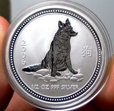 2006 Australia 1/2 oz 999 Silver Lunar Year of the Dog (Series I) Uncirculated