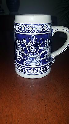 German Beer Stein Cobalt Blue and Gray Purchased in Germany