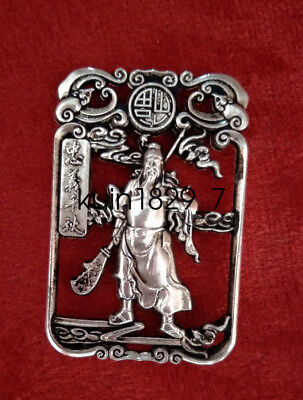 Collectible Miao Silver Carving Old Guan Gong Statue Pendant Amulet