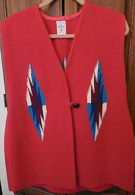 ORTEGA'S Women's Red 100% Wool Hand Woven Vintage NM Aztec Design Vest Size XL