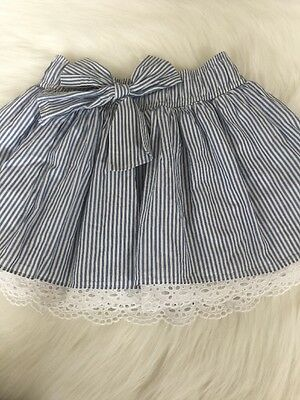 Abercrombie Kids Girls Size XL Skirt Blue And White Stripe Ruffle Bow Adorable