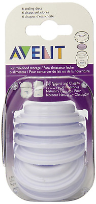 Avent - Sealing Discs 6 PACK For Milk Or Food Storage Baby Bottle Caps Lid