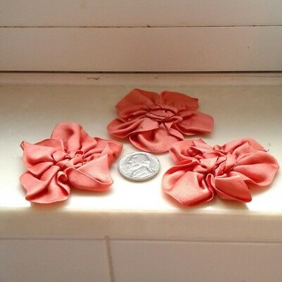 3x Antique French 1920's Silk Ribbon Work Roses Rosettes Coral Peach Pink Salmon