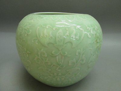 Traditional Chinese Porcelain Hand-Carved Flower Bat Brush washer pot