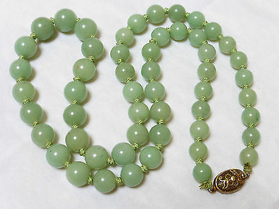 Chinese Vintage Green Jade Bead Necklace, Silver Clasp, 83 Grams