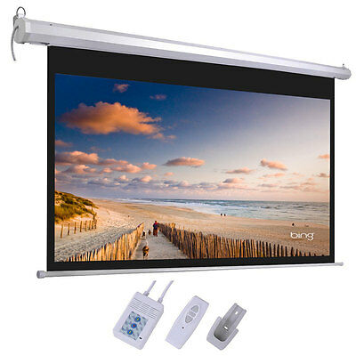 """100"""" Electric Motorized Projection Screen HD Movie Projector White 16:9+ Remote"""