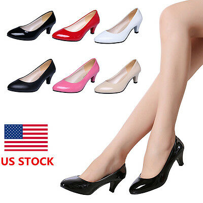 Women Ladies Working Office Toe Pump Low Heels Smart Court Shoes Birthday Party