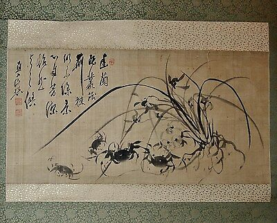 SUPERB ANTIQUE CALLIGRAPHY SCROLL Japanese Edo Harmony Crabs and Orchids
