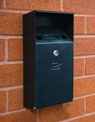 Blk Compact Cigarete Bin Wall Mount FWAS0009 Signs & Labels New