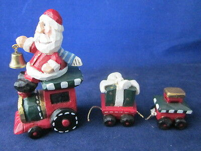 EDDIE WALKER Christmas Santa Holding Bell Riding on Train Set ~ 3 Piece ~ EXC