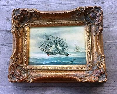 Vintage Max Sciller Marine Nautical Oil Painting of Clipper Ships – Signed