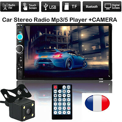 "7 ""HD double 2DIN voiture MP5 lecteur MP3 Bluetooth Touch Screen radio stéréo FR"