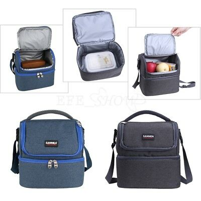 Women Men Kids Dual Compartment Lunch Kit Insulated Cool Box Shoulder Bag Cooler